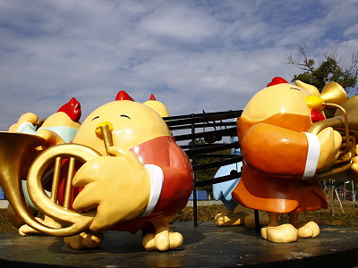 Brightly Colored Wind Band Mascots on Show in the Chiayi City Cultural Park